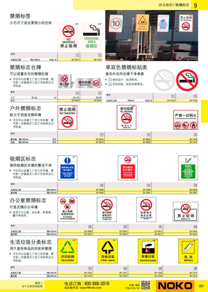 NOKO 安全 吸烟标识